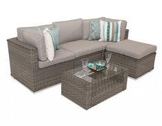Manchester Rattan Modular Corner Garden 5PC Sofa Set- Natural. Ideal even for small spaces.