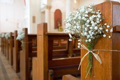 Wedding Church Flowers Pew Brides For 2019 Gypsophila Wedding, Wedding Pews, Wedding Ceremony Flowers, Wedding Flower Arrangements, Wedding Pew Decorations, Flower Decorations, Church Decorations, Church Pew Flowers, Simple Church Wedding