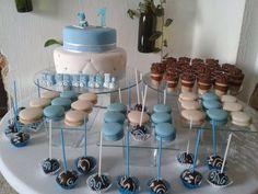 Sweet table for Christening boy Mesa de dulces para bautizo de varón