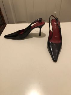 2268f7d228ea St. John Black Patent Leather Heels With Red Interior (size 8)  fashion