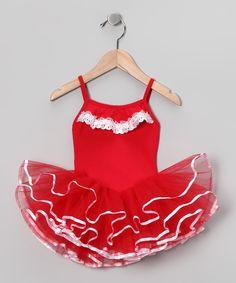 Red & White Lace Leotard - Toddler & Girls