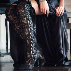Halloween Wedding Inspiration -House of Elliot Goodnight Sweetheart Handmade Black Lace Wedding Boots - Perfect for a Halloween themed wedding! #weddingboots #laceboots #halloween