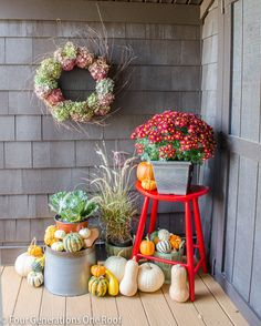 Fall Decorating - love all the gourds!