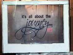 Vintage window with vinyl saying