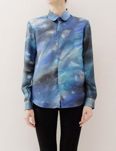 (patrik ervell | women's formal button down) I keep having this dream where I'm wearing a shirt cut from the fabric of spacetime. this comes pretty close but I'd have to maybe DIY a couple of rogue wormholes and an asteroid belt here or there to spice it up.