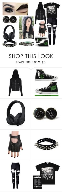 """""""Greenday"""" by weirdlilme ❤ liked on Polyvore featuring Converse, Too Faced Cosmetics, Beats by Dr. Dre, Hot Topic, WithChic, black, GREEN, Dark and emo"""