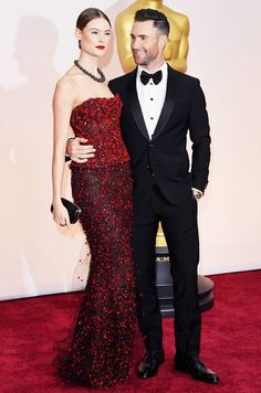 Adam Levine looks nice, but his date Behati Prinsloo kills it in Armani Prive on the 2015 Oscars Red Carpet via @WhoWhatWear