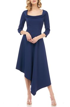 online shopping for Kay Unger Arianna Asymmetrical Hem Midi Dress from top store. See new offer for Kay Unger Arianna Asymmetrical Hem Midi Dress Day Dresses, Dress Outfits, Formal Dresses, Occasion Dresses, Midi Dresses Online, Dress Online, Designer Cocktail Dress, Blue Midi Dress, Crepe Dress