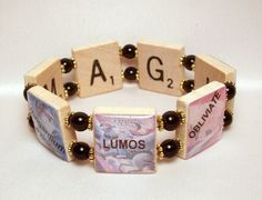HARRY POTTER SPELLS Bracelet / Scrabble Jewelry / Book Lover Gift / Upcycled / Magic cool braclet