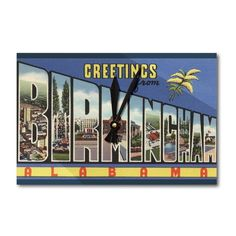Greetings from Birmingham Alabama Vintage Halftone (Acrylic Wall Clock), Black (Plastic)