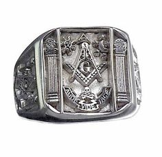 New Genuine SOLID Sterling silver free mason MASONIC RING Size 11 Jewelry