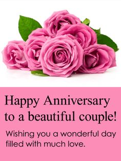 To a Beautiful Couple! Happy Anniversary Card: Love is out there! Don't forget to celebrate the anniversary of your friends and family! This beautiful anniversary card boasts big blooms of pink roses. A breathtaking anniversary card is a thoughtful way to wish a wonderful day to a special couple. Let them know you are thinking of them and wish them all the love in the world with this pretty-in-pink anniversary greeting card.