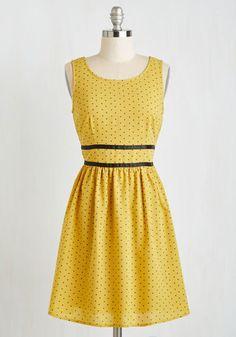 Heart-to-Heart Walk Dress - Short, Woven, Yellow, Black, Print, Daytime Party, A-line, Sleeveless, Better