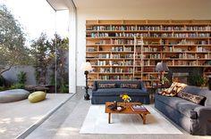 Bookshelves in a modern living room