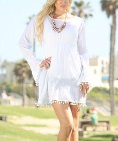 Love this White Pom-Trim Bell-Sleeve Dress on #zulily! #zulilyfinds