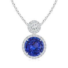 Angara Dangling Blue Sapphire and Diamond Triple Heart Pendant in Platinum 77v7Ertf