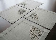Set of 4 square table napkins from natural color linen fabric with crocheted linen yarn applique. Very versatile size: mini placemat or maxi coaster. Crochet Home, Hand Crochet, Grey Fabric, Linen Fabric, Selling Handmade Items, Mug Rugs, Table Covers, Hand Embroidery, Sewing Crafts