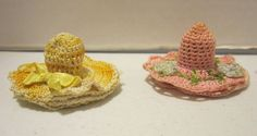 Lot of 2 antique hand crocheted thimble hats - pink & yellow  GC