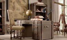 Home Office Decor Vintage Style Desk Made Of Suitcases Retro Office  Furniture