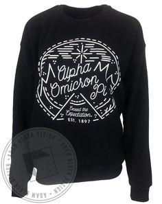 Alpha Omicron Pi Winter Mountain Sweatshirt by Adam Block Design | Custom Greek Apparel & Sorority Clothes | www.adamblockdesign.com
