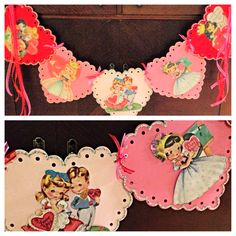 Vintage Valentine heart banner idea : Vintage Valentine papercraft ideaYou can find Vintage valentines and more on our website. My Funny Valentine, Valentine Banner, Vintage Valentine Cards, Valentines Day Hearts, Valentine Day Love, Valentine Day Crafts, Valentine Ideas, Valentine Tree, Vintage Cards