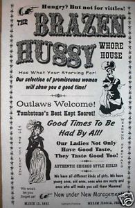 "real prostitutes in the old west | Old West Brothel Tombstone Brazen Hussy Whore House Poster 11""x17"" 069 ..."