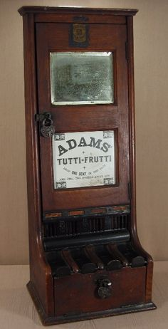 "Adams' Tutti-Frutti. Manufacturer unknown, c. 1890's, 31 1/2"". One of the earliest gum machines made. Wood. Vending machine. Small Vintage Vending"