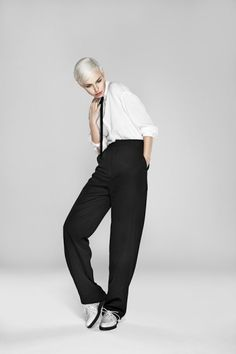Androgyny Fashion, one eye land, silver, skinny tie, hi waisted pants, tomboy
