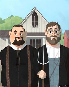 His & His. The *new* American Gothic. #gay #lgbt #art