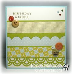 Block Birthday Wishes birthday card.  Verse from Art Impressions.  Die from Spellbinders. (buttons are vintage from my wonderful sister in law)