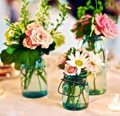 Mason jars can be great for decor, glassware or lighting! #weddings