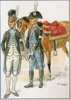 French; Mirabeau's Legion, Officer in early uniform1791 & senior Officer in uniform 1791-92 by P.Courcelle