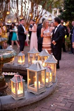 Beautiful DIY idea for outdoor wedding decorations - Lanterns in varying sizes and shapes. LOVE all the lanterns! Summer Wedding, Diy Wedding, Wedding Reception, Rustic Wedding, Wedding Photos, Dream Wedding, Wedding Ideas, Reception Ideas, Forest Wedding