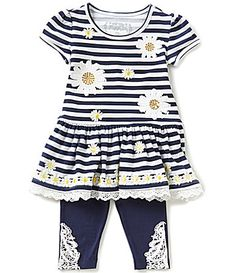 Flapdoodles Little Girls 2T6X Daisy Striped Ruffled Dress and Solid Leggings Set #Dillards
