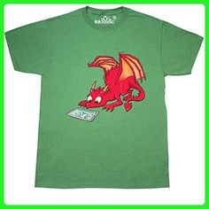 Inktastic - Curious Dragon Watching a T-Shirt XXX-Large Retro Heather Green - Retro shirts (*Amazon Partner-Link)