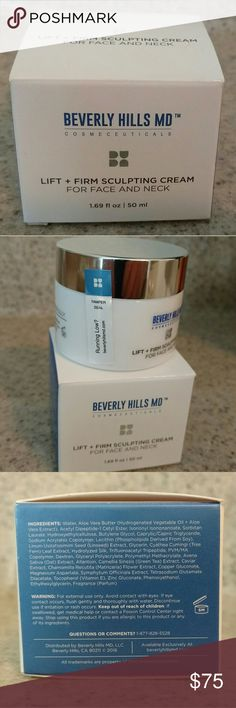 Beverly Hills MD Lift + Sculpting Cream Beverly Hills MD Lift + Sculpting Cream  For Face and Neck New In Box Tamper Seal not broken. Purchased for $120 on true website: http://beverlyhillsmd.com/lift-firm-sculpting-cream.php  This exclusive anti-aging formula gives skin a lifted, tightened, more youthful appearance. Highly sophisticated active ingredients are combined to create an intensive, restorative complex that considerably reduces the appearance of sagging skin by restoring skin?s…