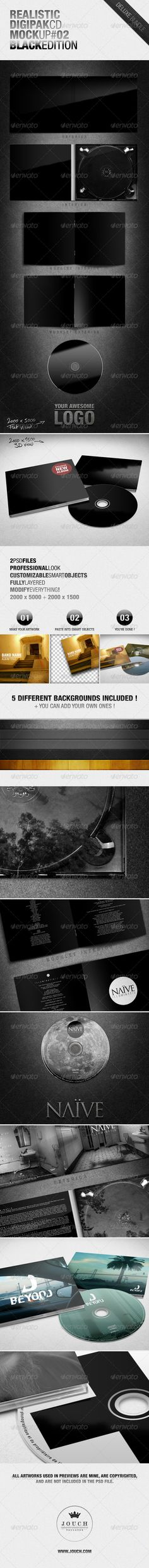 Buy Realistic Digipak CD Mockup Black Edition by jouch on GraphicRiver. PLEASE DON'T FORGET TO RATE! * Here is a realistic presentation (mockup) of a cd albums (digipaks) and discs, for yo. Promotional Stickers, Cd Artwork, Cd Cover Design, Cd Album, Photoshop, Black Edition, Mockup Templates, Graphic Design Branding, Social Media Graphics