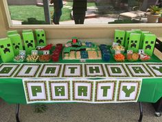 Fun dessert table at a Minecraft birthday party! See more party ideas at CatchMyParty.com!