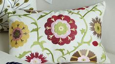 FLORAL EMBROIDERED LUMBER PILLOW  Sale $24.99 (Was $50.00)