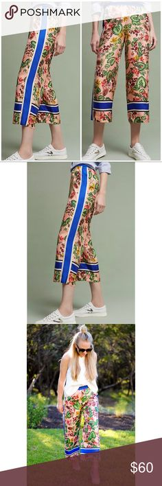 NWT Anthropologie gardened silk wide legs NWT Anthropologie Pants Ankle & Cropped