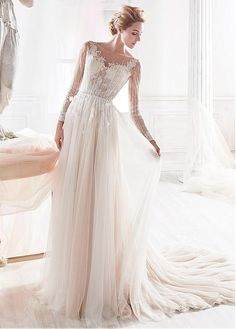 Buy discount Fabulous Tulle Sheer Bateau Neckline See-through A-line Wedding Dress With Beadings & Lace Appliques at Dressilyme.com