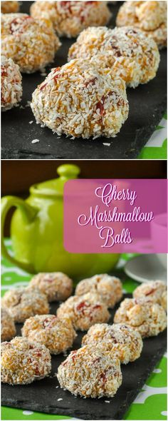 Cherry Marshmallow Balls - an easy no bake recipe using just a few ingredients to make a quick treat whenever you like. Perfect for cookie exchanges! (no bake recipes) No Bake Desserts, Delicious Desserts, Dessert Recipes, Xmas Desserts, Dessert Bars, Healthy Desserts, Dinner Recipes, Holiday Baking, Christmas Baking
