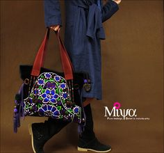Miya's Original Ethnic Hmong Embroidered Bag  Purse Shoulderbag - Luna