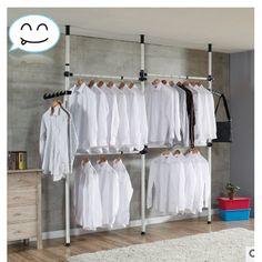 Anauto 4 Poles Adjustable Home Garment Hanger Clothes Rack Simple Closet Wardrobe - Walmart.com
