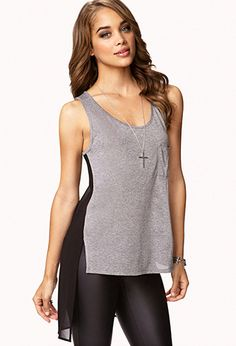 Heathered Chiffon Back Top | FOREVER 21 - 2060967147