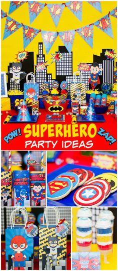 a fun superhero party! See more party planning ideas at ! Superman Birthday Party, Superhero Theme Party, Avengers Birthday, 4th Birthday Parties, Boy Birthday, Birthday Ideas, Meghan Patrick, Party Ideas, Birthdays