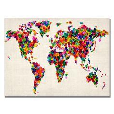 Michael Tompsett 'Hearts World Map' Canvas Art | Overstock.com Shopping - The Best Deals on Canvas