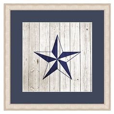 A beveled star shines on plank paper, and the natural wood frame enhances it. | $113