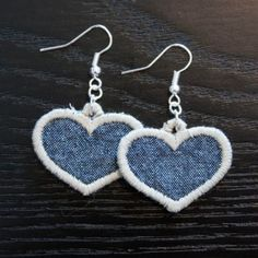 Heartshaped jeans earrings made of denim fabric. My own design and making.