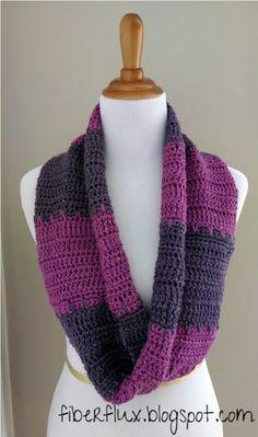 Free Crochet Pattern...Violet Tones Infinity Scarf - Fiber Flux...Adventures in Stitching
